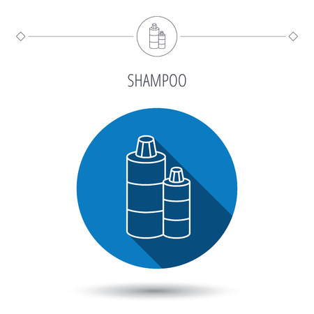 shampoo bottles: Shampoo bottles icon. Liquid soap sign. Blue flat circle button. Linear icon with shadow. Vector