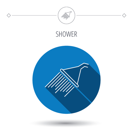 washstand: Shower icon. Washing equipment sign. Blue flat circle button. Linear icon with shadow. Vector
