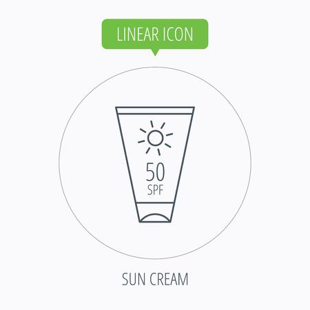 sun lotion: Dom icono de contenedor crema. Signo loci�n Beach. Bot�n Lineal contorno c�rculo. Vector Vectores