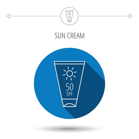 sun cream: Sun cream container icon. Beach lotion sign. Blue flat circle button. Linear icon with shadow. Vector