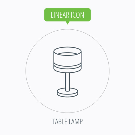 desk light: Table lamp icon. Desk light sign. Linear outline circle button. Vector