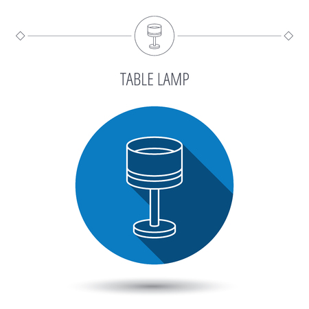 desk light: Table lamp icon. Desk light sign. Blue flat circle button. Linear icon with shadow. Vector