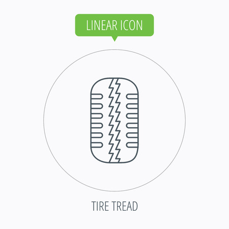 tread: Tire tread icon. Car wheel sign. Linear outline circle button. Vector