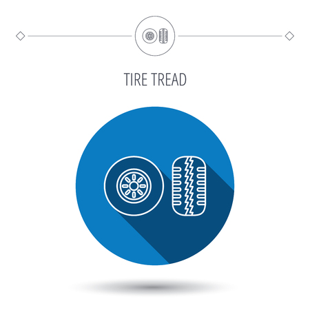 flaring: Tire tread icon. Car wheel sign. Blue flat circle button. Linear icon with shadow. Vector