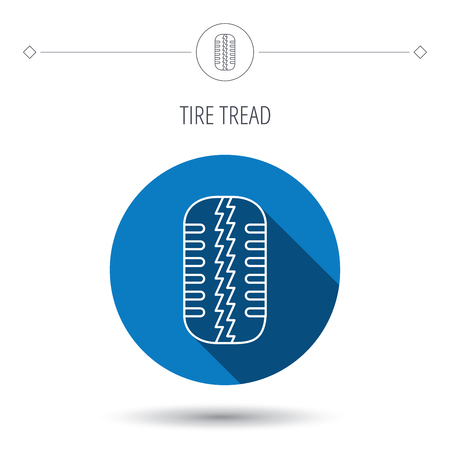 tread: Tire tread icon. Car wheel sign. Blue flat circle button. Linear icon with shadow. Vector
