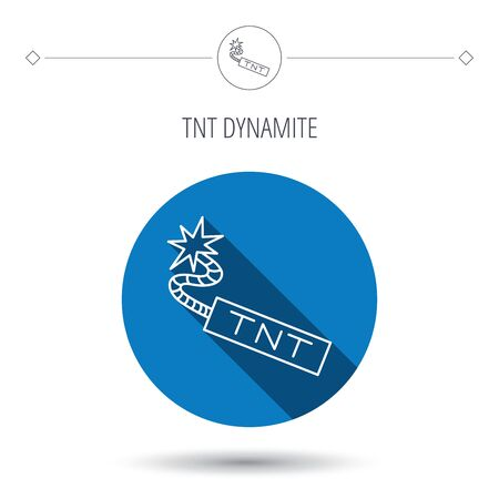 tnt: TNT dynamite icon. Bomb explosion sign. Blue flat circle button. Linear icon with shadow. Vector Illustration