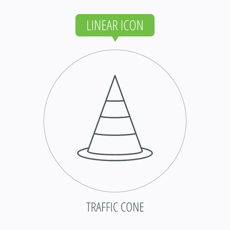 road warning sign: Traffic cone icon. Road warning sign. Linear outline circle button. Vector