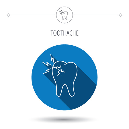 toothache: Toothache icon. Dental healthcare sign. Blue flat circle button. Linear icon with shadow. Vector