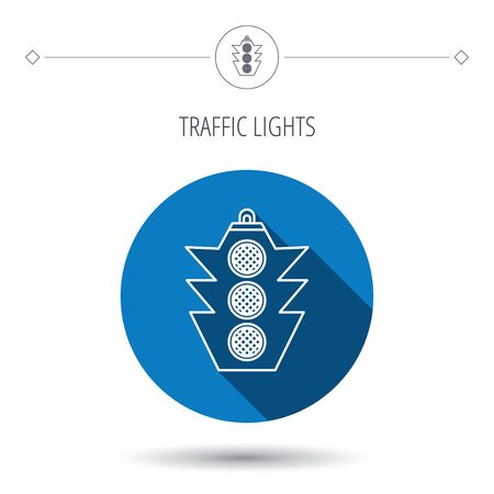 regulate: Traffic light icon. Safety direction regulate sign. Blue flat circle button. Linear icon with shadow. Vector