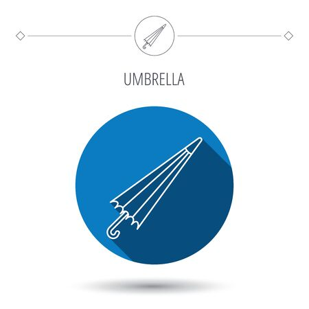 Umbrella icon. Water protection sign. Rainy weather symbol. Blue flat circle button. Linear icon with shadow. Vector