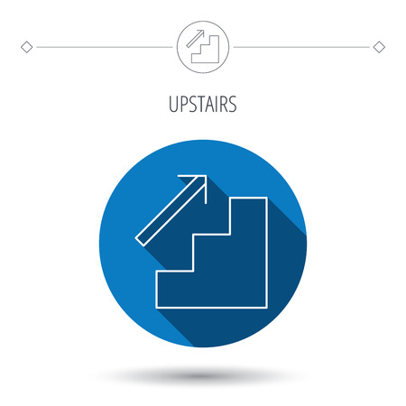 upstairs: Upstairs icon. Direction arrow sign. Blue flat circle button. Linear icon with shadow. Vector Illustration