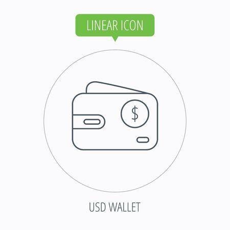 cash money: Dollar wallet icon. USD cash money bag sign. Linear outline circle button. Vector Illustration