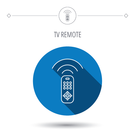 switching: Remote control icon. TV switching channels sign. Blue flat circle button. Linear icon with shadow. Vector