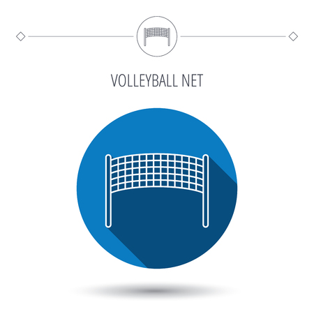 volleyball net: Volleyball net icon. Beach sport game sign. Blue flat circle button. Linear icon with shadow. Vector