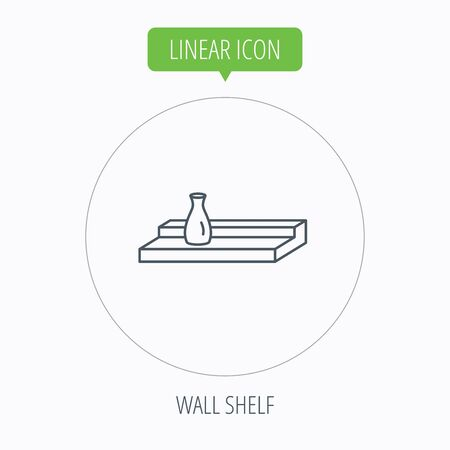 interior shelving: Wall shelf icon. Bookshelf with vase sign. Linear outline circle button. Vector