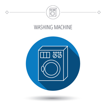 washer machine: Washing machine icon. Washer sign. Blue flat circle button. Linear icon with shadow. Vector