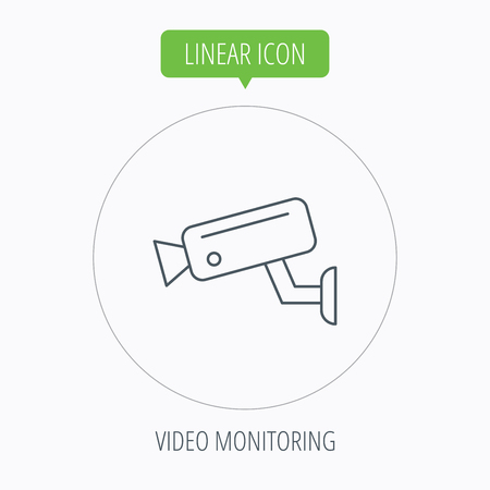 monitored area: Video monitoring icon. Camera cctv sign. Linear outline circle button. Vector