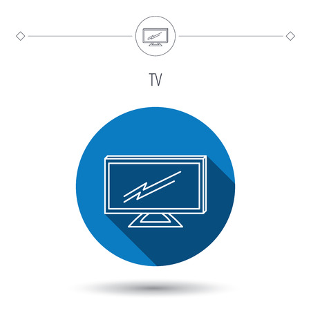 led display: Lcd tv icon. Led monitor sign. Widescreen display symbol. Blue flat circle button. Linear icon with shadow. Vector