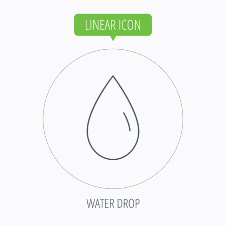washing symbol: Water drop icon. Liquid sign. Freshness, condensation or washing symbol. Linear outline circle button. Vector Illustration