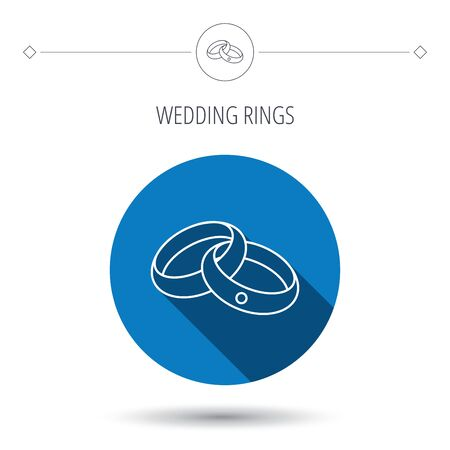jewelery: Wedding rings icon. Bride and groom jewelery sign. Blue flat circle button. Linear icon with shadow. Vector