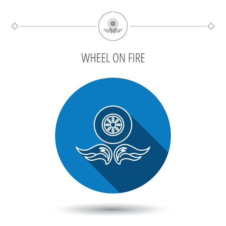 blue flame: Car wheel icon. Fire flame symbol. Blue flat circle button. Linear icon with shadow. Vector Illustration