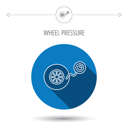 flaring: Wheel pressure icon. Tire service sign. Blue flat circle button. Linear icon with shadow. Vector