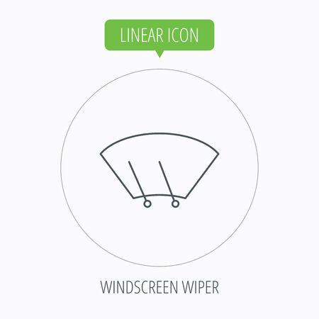 windshield wiper: Windscreen wipers icon. Windshield sign. Linear outline circle button. Vector