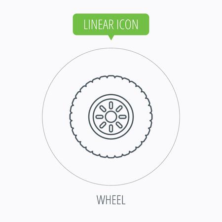 flaring: Car wheel icon. Tire service sign. Linear outline circle button. Vector