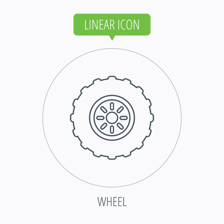 flaring: Tractor wheel icon. Tire service sign. Linear outline circle button. Vector Illustration