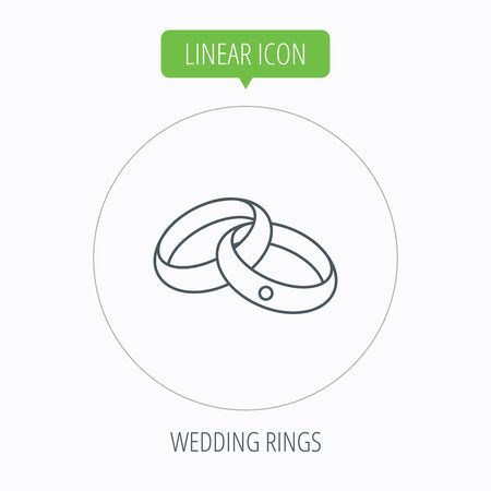 jewelery: Wedding rings icon. Bride and groom jewelery sign. Linear outline circle button. Vector