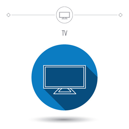 blue widescreen widescreen: Lcd tv icon. Led monitor sign. Widescreen display symbol. Blue flat circle button. Linear icon with shadow. Vector