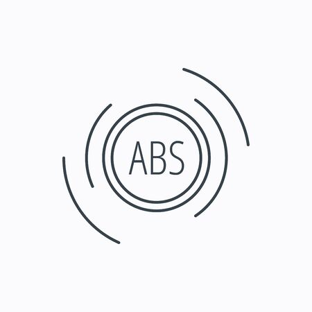 brakes: ABS icon. Brakes antilock system sign. Linear outline icon on white background. Vector