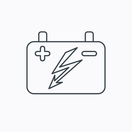 emitter: Accumulator icon. Electrical battery sign. Linear outline icon on white background. Vector