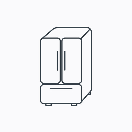 frig: American fridge icon. Refrigerator sign. Linear outline icon on white background. Vector
