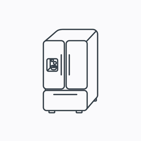 frig: American fridge icon. Refrigerator with ice sign. Linear outline icon on white background. Vector