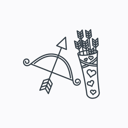 amour: Amour arrows and bow icon. Valentine weapon sign. Linear outline icon on white background. Vector