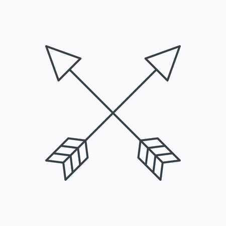 darts flying: Bow arrows icon. Hunting sport equipment sign. Archer weapon symbol. Linear outline icon on white background. Vector