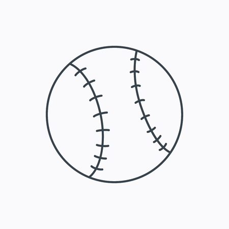 team game: Baseball equipment icon. Sport ball sign. Team game symbol. Linear outline icon on white background. Vector
