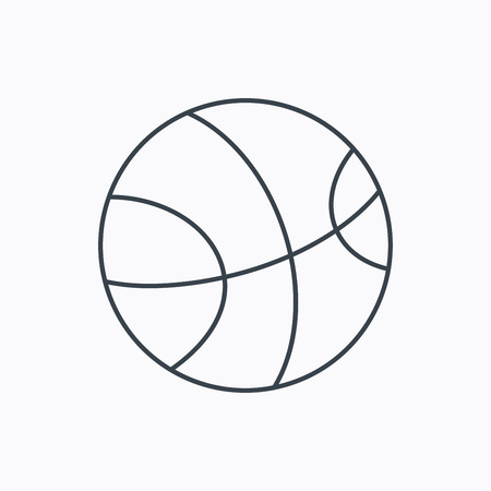 team game: Basketball equipment icon. Sport ball sign. Team game symbol. Linear outline icon on white background. Vector