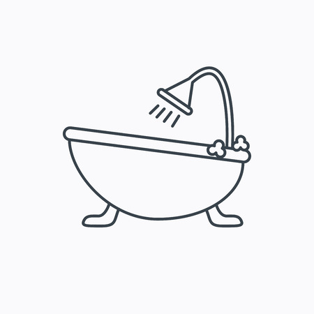 tubs: Bathroom icon. Bath with shower sign. Linear outline icon on white background. Vector
