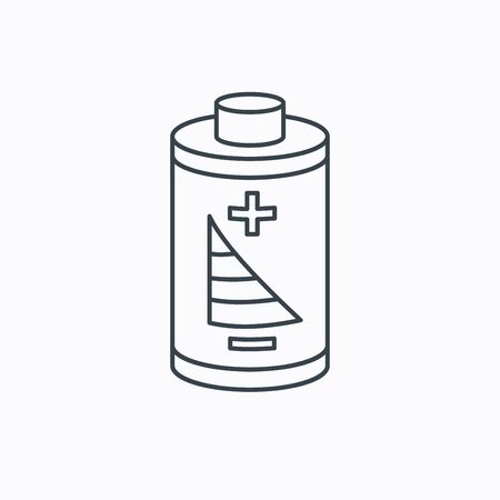 rechargeable: Battery icon. Electrical power sign. Rechargeable energy symbol. Linear outline icon on white background. Vector