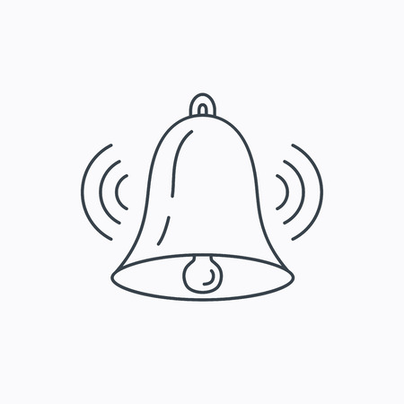 handbell: Ringing bell icon. Sound sign. Alarm handbell symbol. Linear outline icon on white background. Vector