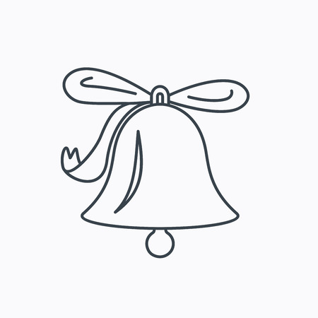handbell: Ringing jingle bell icon. Sound sign. Alarm handbell symbol. Linear outline icon on white background. Vector Illustration