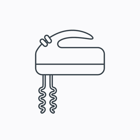 stir: Blender icon. Mixer sign. Linear outline icon on white background. Vector