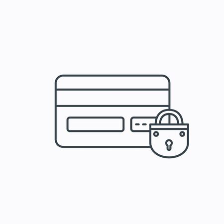lock block: Blocked credit card icon. Shopping sign. Linear outline icon on white background. Vector