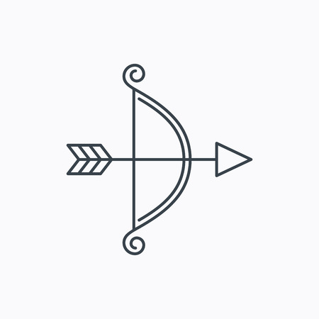 bowstring: Bow with arrow icon. Valentine weapon sign. Linear outline icon on white background. Vector
