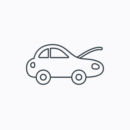 refit: Car repair icon. Mechanic service sign. Linear outline icon on white background. Vector