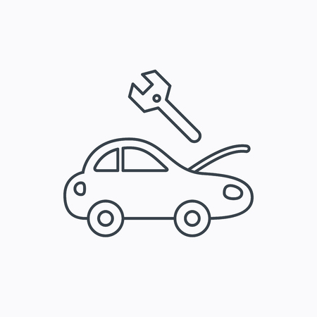 mending: Car service icon. Transport repair with wrench key sign. Linear outline icon on white background. Vector