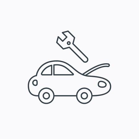 overhaul: Icona del servizio Car. Riparazione di trasporto con la chiave la chiave segno. Icona contorno lineare su sfondo bianco. Vettore Vettoriali
