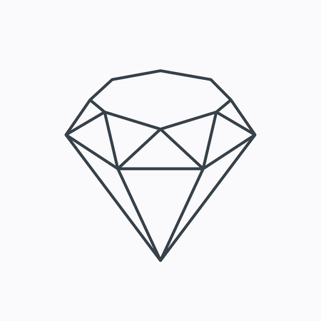gemstone background: Brilliant icon. Diamond gemstone sign. Linear outline icon on white background. Vector Illustration
